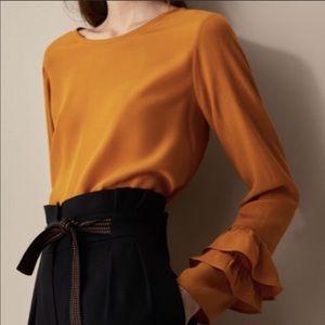 Mustard yellow long sleeve with ruffles